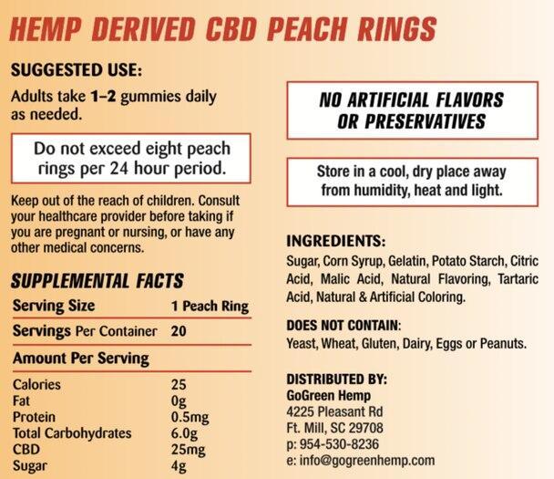 GoGreen Hemp Peach Rings 2
